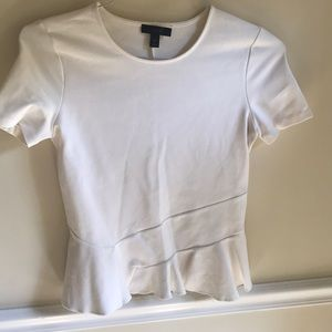 JCrew White fitted peplum style top XS